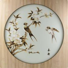 """Strohbild """"Hochzeitsvögel"""" Ivory White mit Rahmen"""
