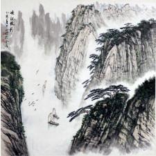"""Chen Zhengming """"Schiffe in den Schluchten des Yangtse"""", chinesische Malerei"""