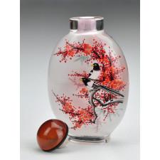 """Snuff Bottle """"Vögel auf Pflaumenbaum"""" (oval)"""
