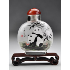 "Snuff Bottle ""Pandas im Bambuswald"" (rund)"