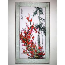 """Stickbild """"Pflaumenblüte und Bambus"""""""
