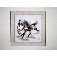 "Stickbild ""Stürmische Pferde"", Xu Beihong"