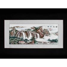 """Stickbild """"Dorf am Wasserfall"""""""