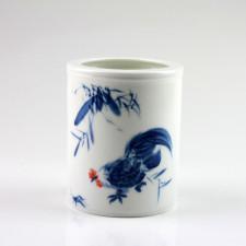 """Chinesische Vase """"Hahn"""", Porzellan Kalligrafie-Pinselhalter"""