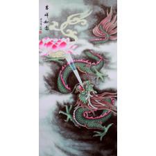 """Chinesisches Stoff-Bild """"Lotosdrache"""", Bildrolle"""