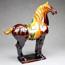 "Tang-Pferd ""Kraft"", rechtsgewandt - Pferdeskulptur aus Keramik braun"