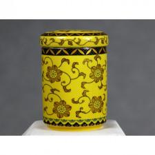 """Teedose Keramik gelb """"Des Kaisers Chrysanthemen"""""""