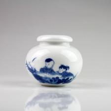 """Keramik-Teedose """"Kinder am Teich"""", Porzellan blau-weiß"""