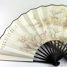 """Wandfächer """"Überfahrt auf dem Jangtse"""", chinesischer Faltfächer"""