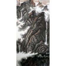 """Peng Guo Lan """"Wasserfall und Wolkendunst"""", chinesische Malerei"""