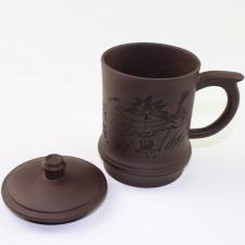 Yixing Ton-Teetasse Wasserlilie mit Deckel