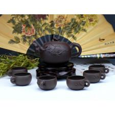 """Yixing Teeservice """"Mystisches Blattwerk"""", Pu Tao (braun)"""