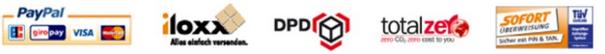 PayPal, Iloxx, DPD, Sofortüberweisung, CO2 Neutraler Versand, MasterCard, Idealo