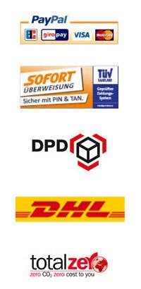 PayPal, Iloxx, DPD, CO2 neutraler Versand, Sofortüberweisung